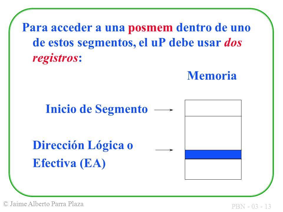 Para acceder a una posmem dentro de uno de estos segmentos, el uP debe usar dos registros: