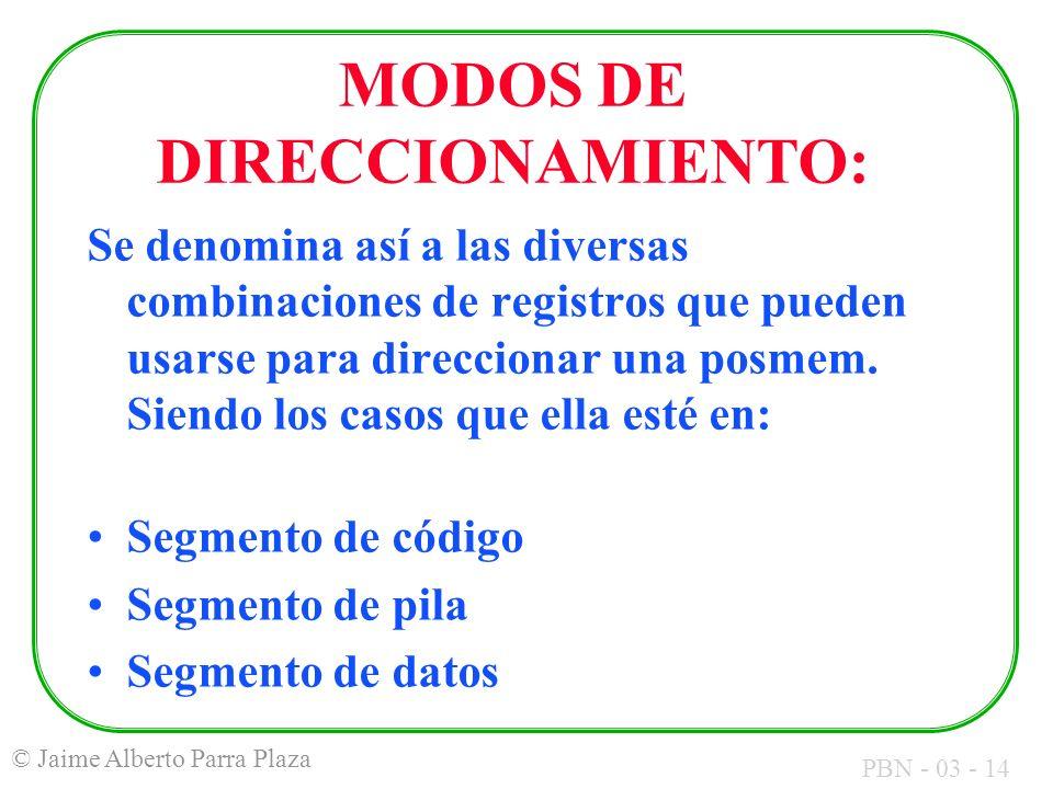 MODOS DE DIRECCIONAMIENTO: