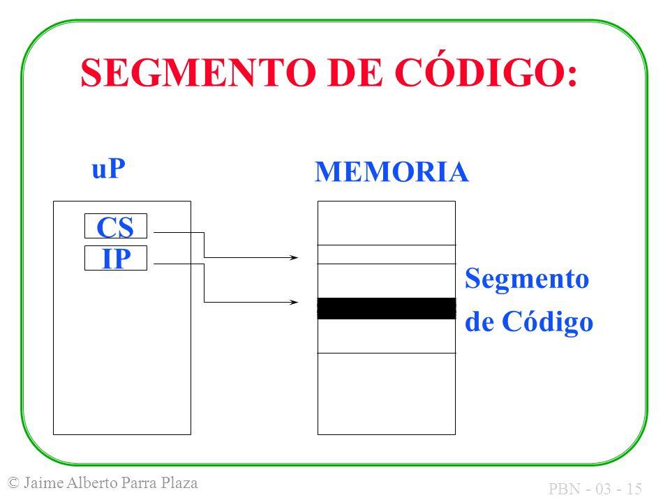 SEGMENTO DE CÓDIGO: uP MEMORIA IP CS Segmento de Código