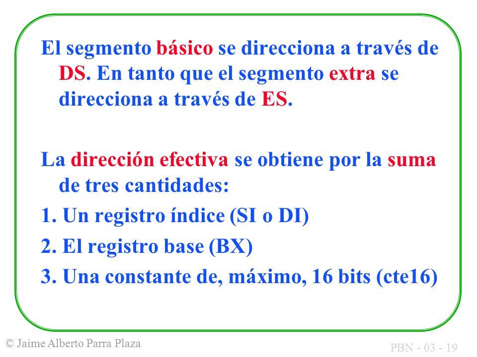 El segmento básico se direcciona a través de DS