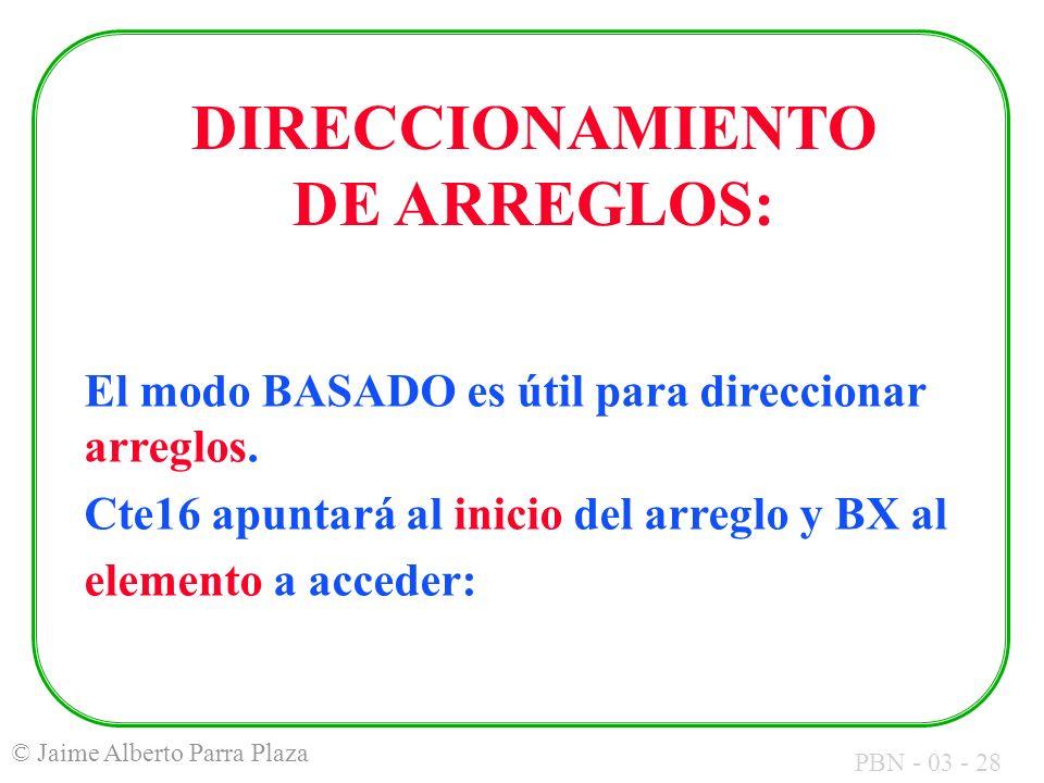 DIRECCIONAMIENTO DE ARREGLOS: