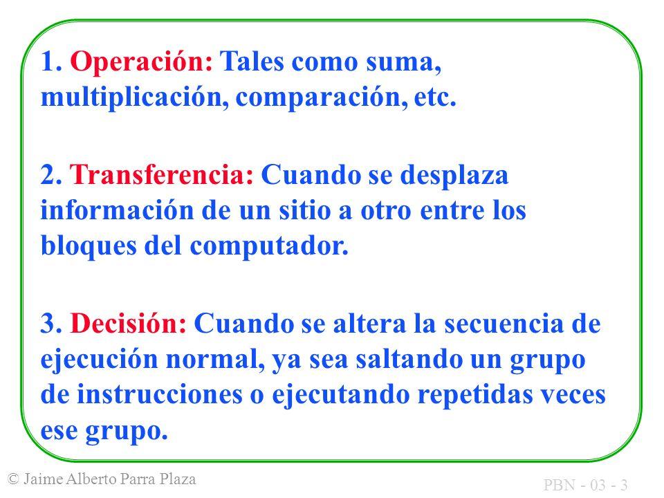 1. Operación: Tales como suma, multiplicación, comparación, etc.