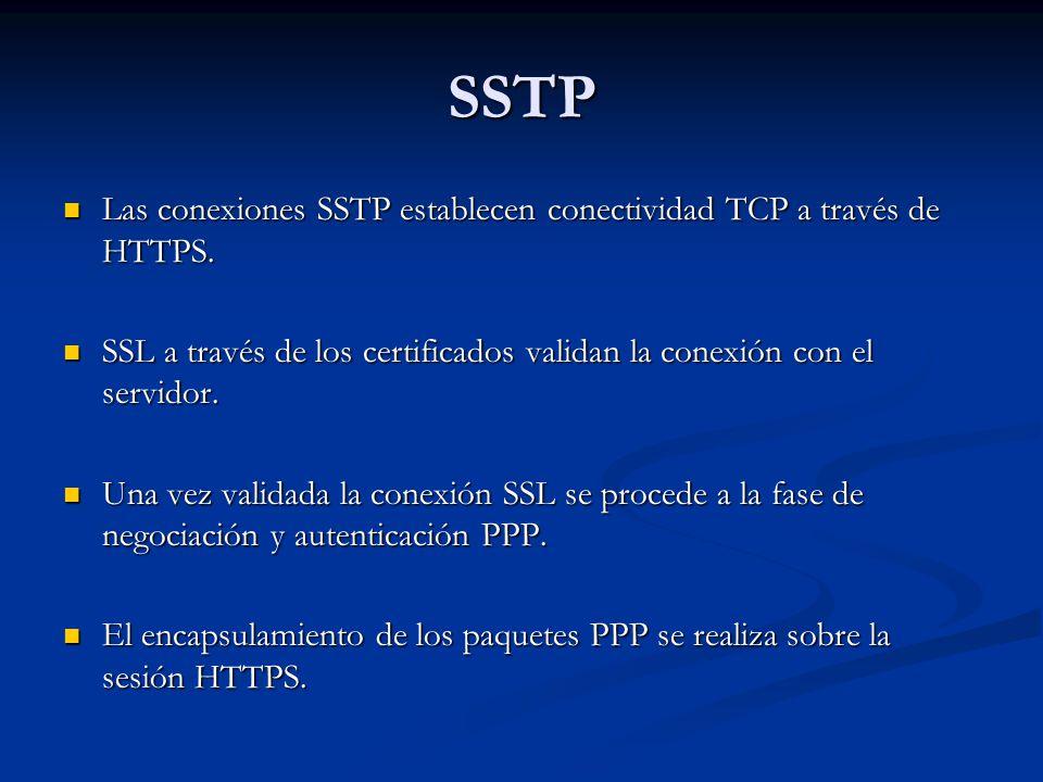 SSTP Las conexiones SSTP establecen conectividad TCP a través de HTTPS. SSL a través de los certificados validan la conexión con el servidor.
