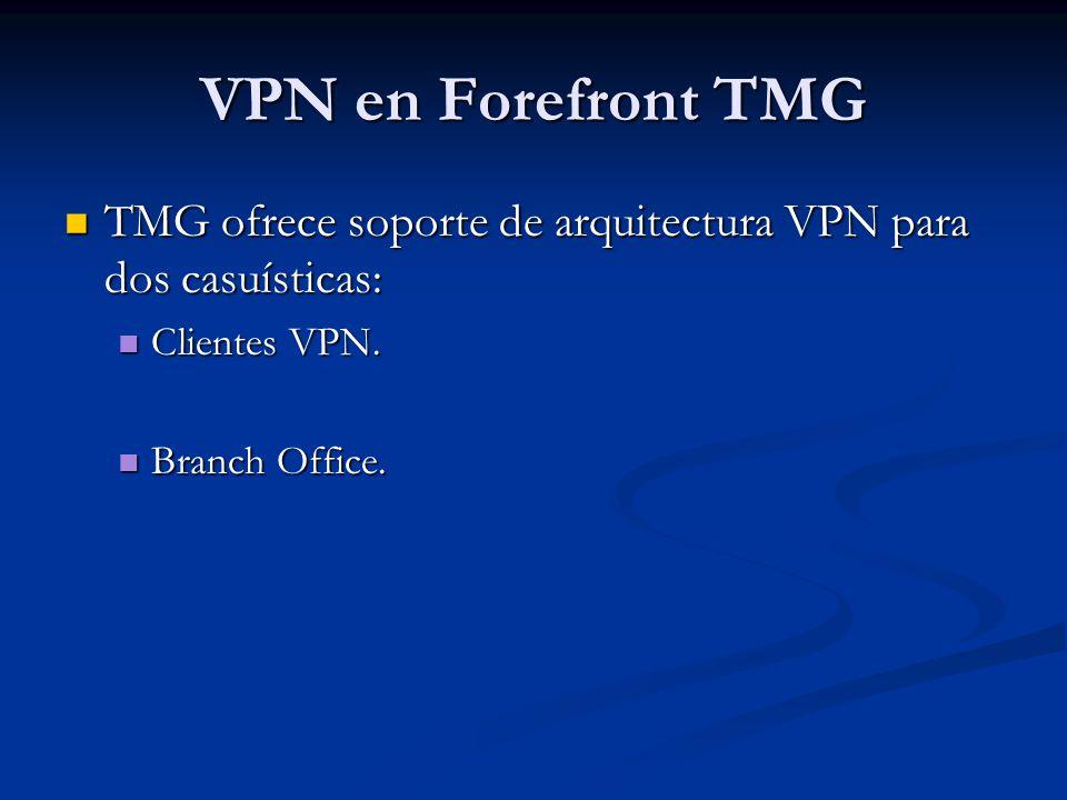 VPN en Forefront TMG TMG ofrece soporte de arquitectura VPN para dos casuísticas: Clientes VPN.