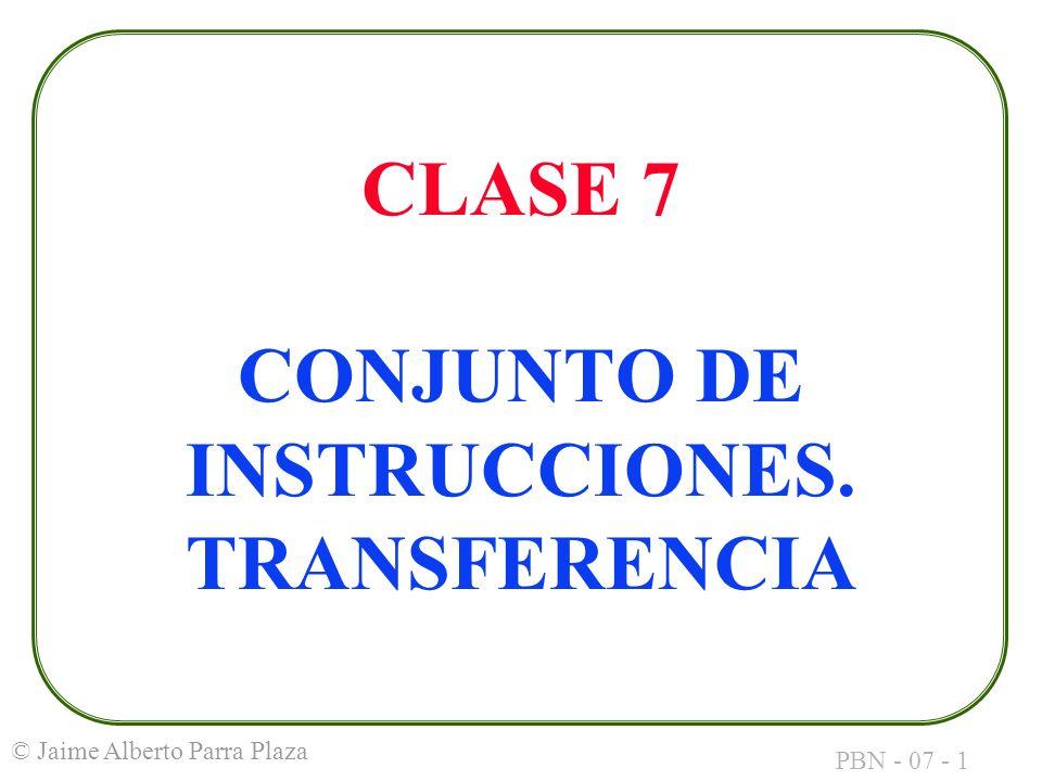 CLASE 7 CONJUNTO DE INSTRUCCIONES. TRANSFERENCIA
