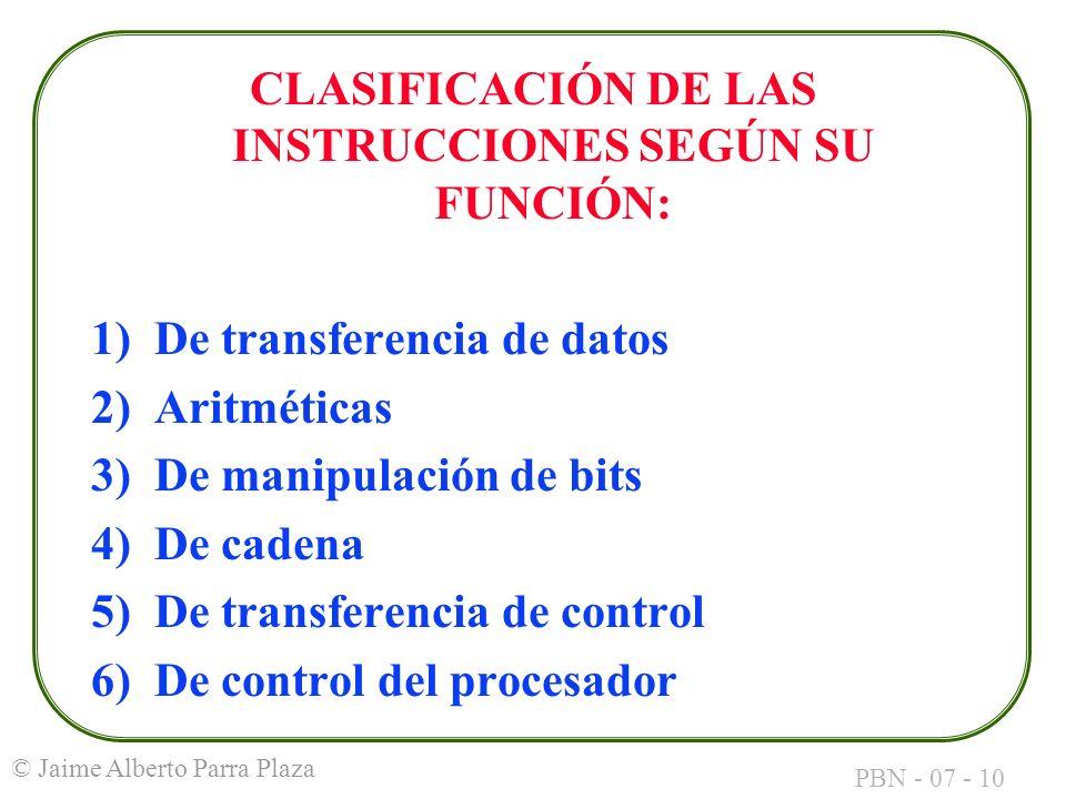 CLASIFICACIÓN DE LAS INSTRUCCIONES SEGÚN SU FUNCIÓN: