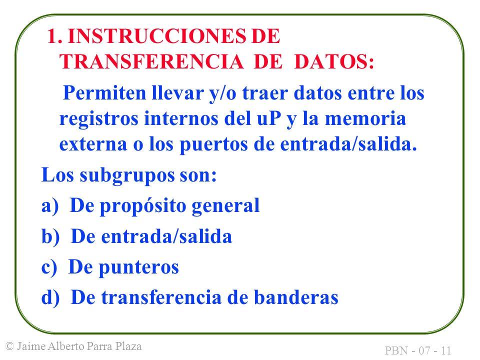 1. INSTRUCCIONES DE TRANSFERENCIA DE DATOS: