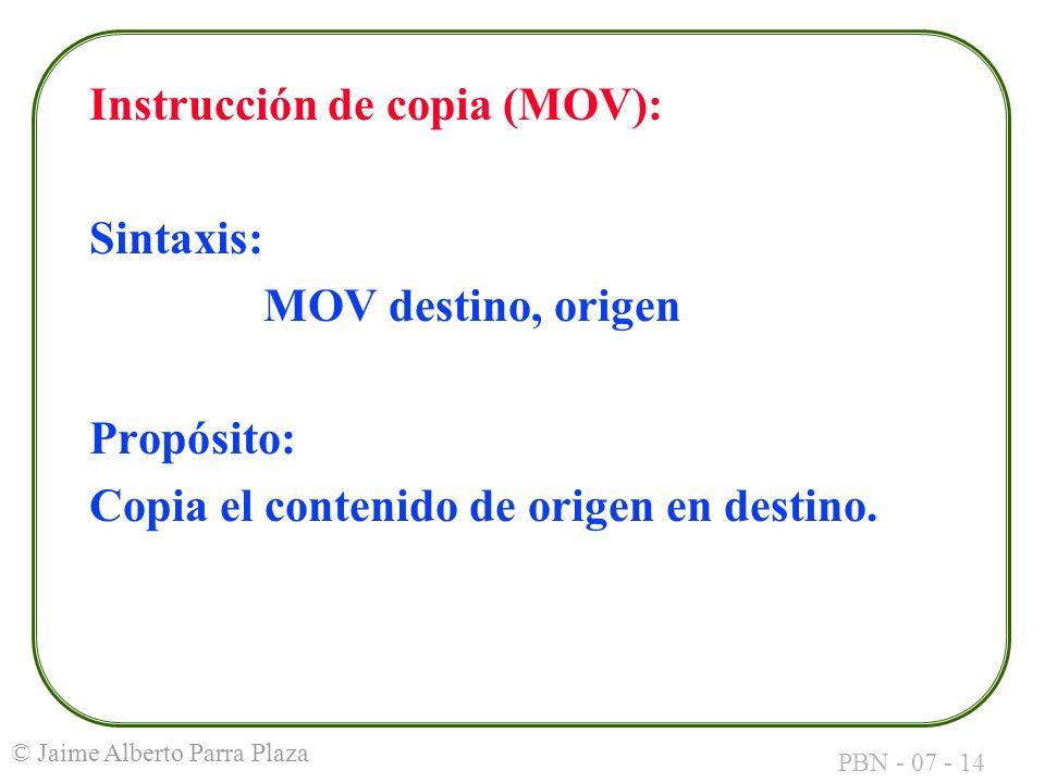 Instrucción de copia (MOV):