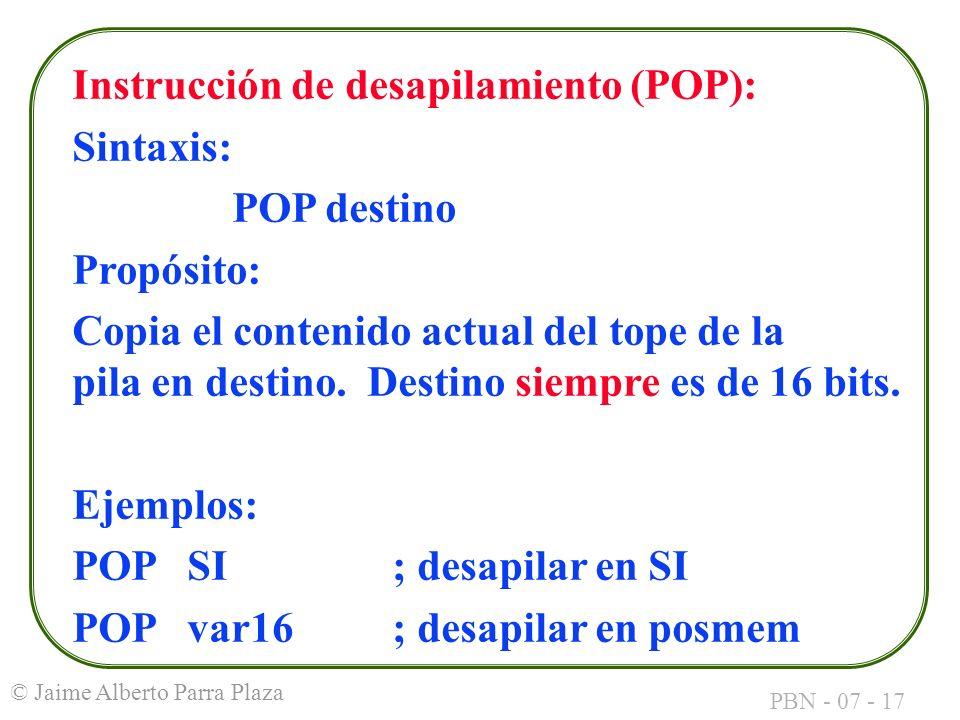 Instrucción de desapilamiento (POP):