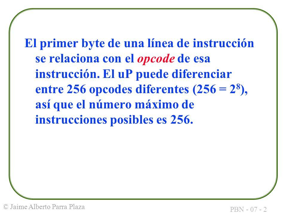 El primer byte de una línea de instrucción se relaciona con el opcode de esa instrucción.