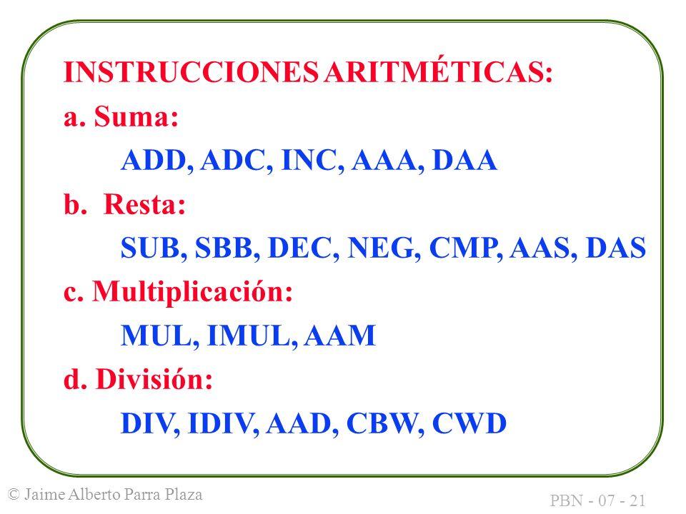INSTRUCCIONES ARITMÉTICAS: