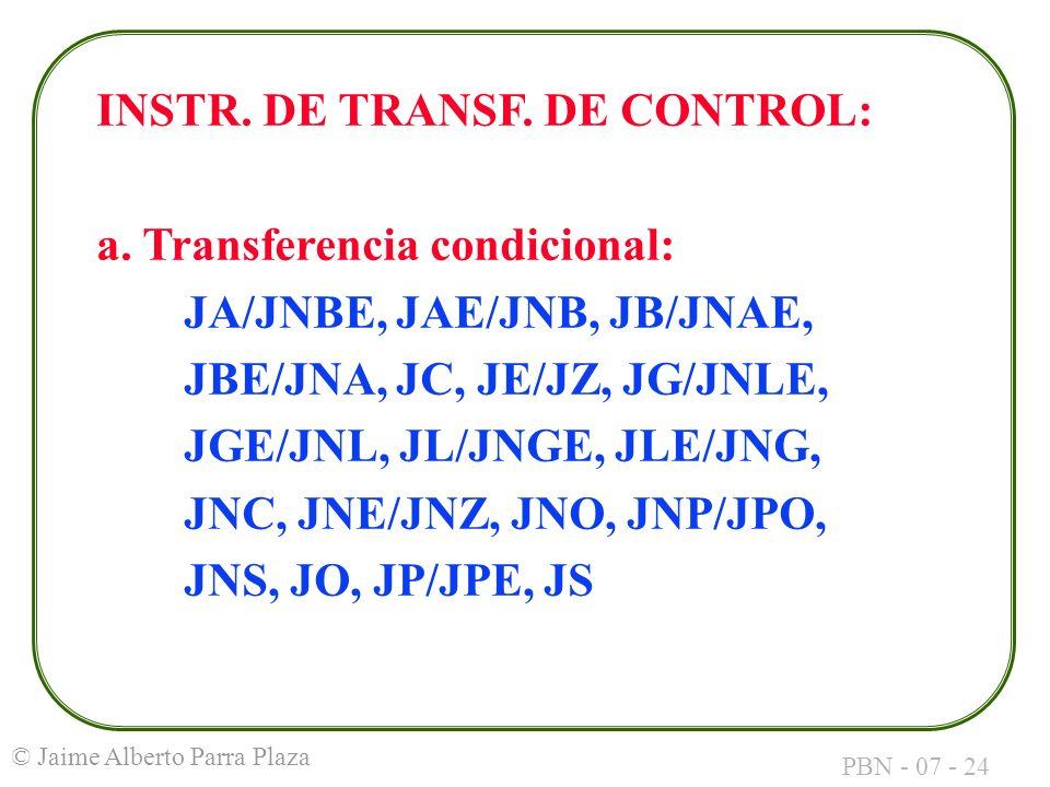INSTR. DE TRANSF. DE CONTROL: