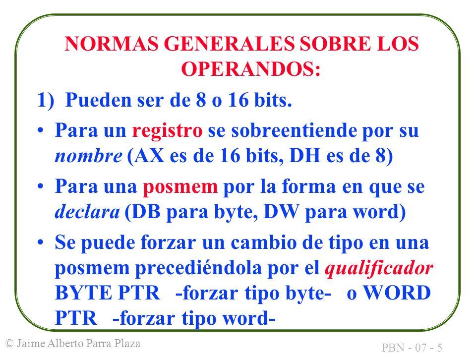 NORMAS GENERALES SOBRE LOS OPERANDOS: