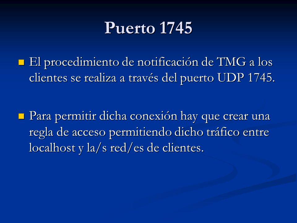 Puerto 1745 El procedimiento de notificación de TMG a los clientes se realiza a través del puerto UDP 1745.
