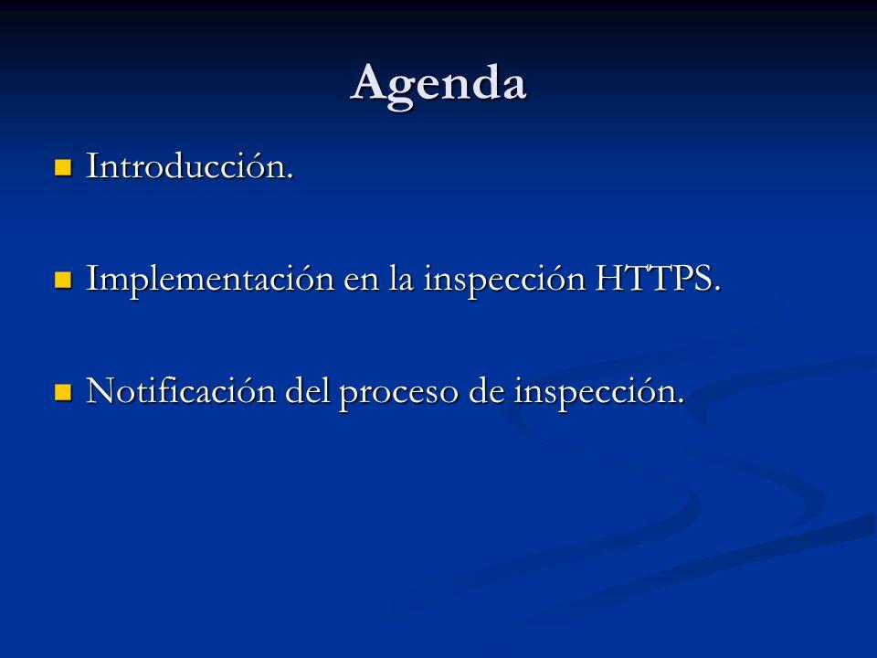 Agenda Introducción. Implementación en la inspección HTTPS.
