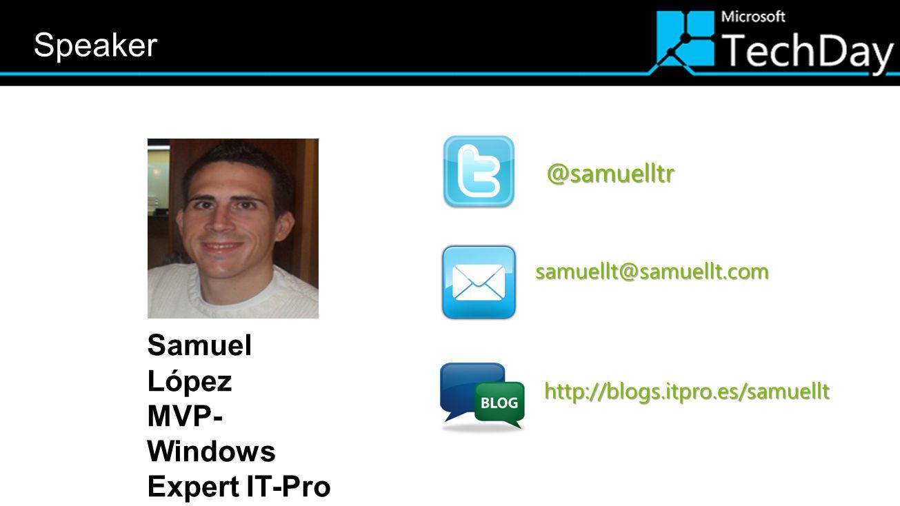 Speaker Datos ponente Twitter Facebook Correo Samuel López
