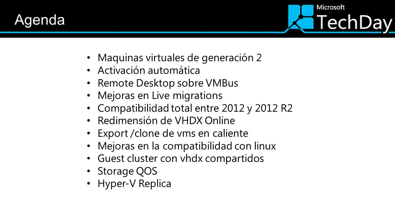 Agenda Maquinas virtuales de generación 2 Activación automática