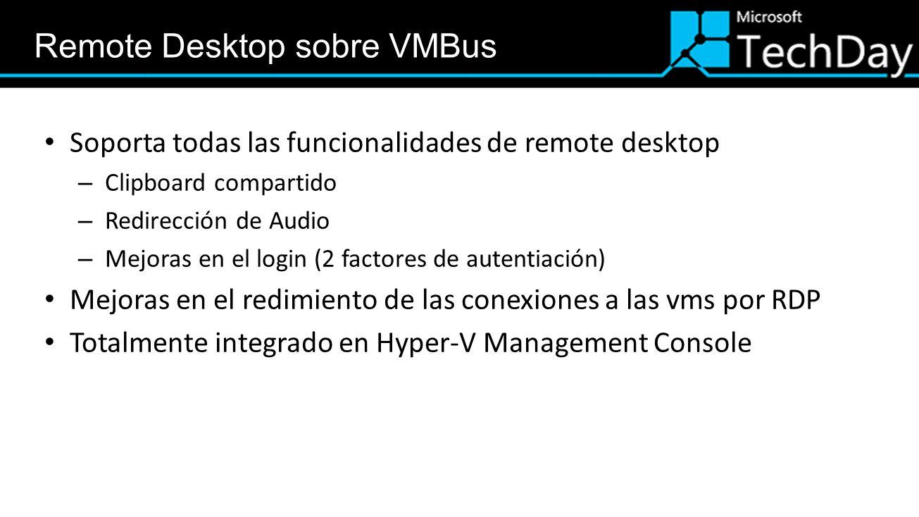 Remote Desktop sobre VMBus