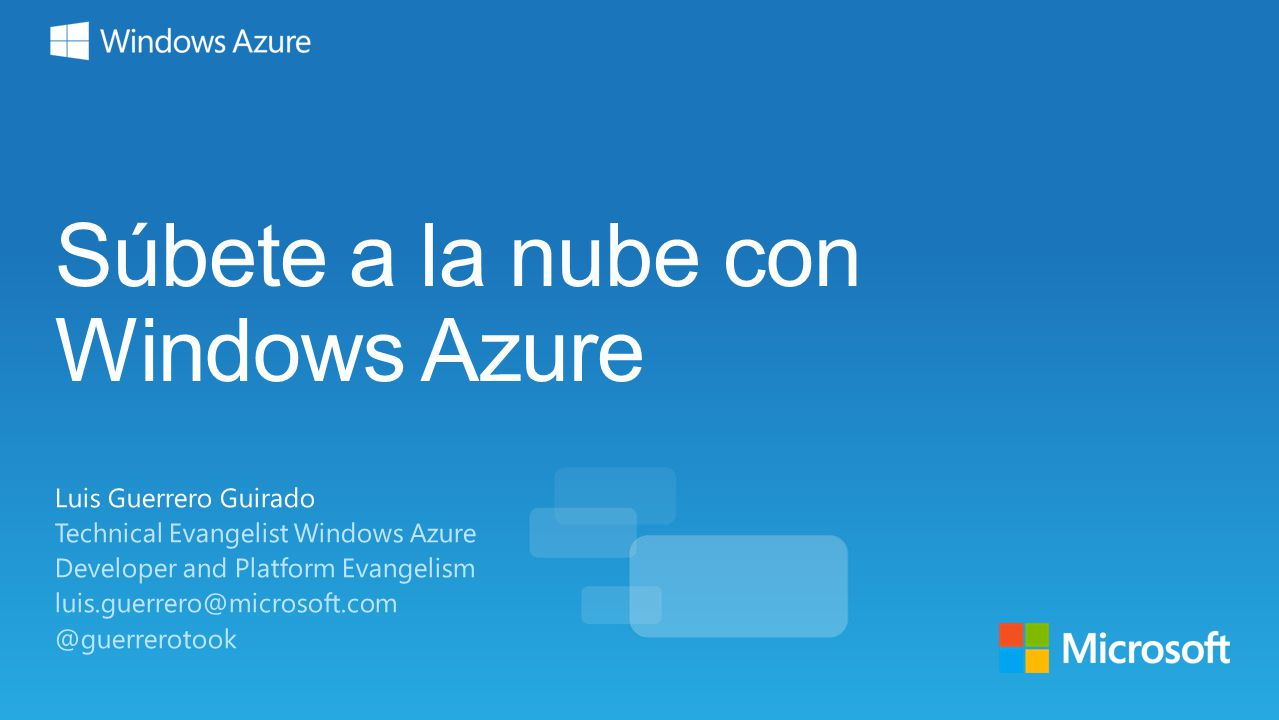 Súbete a la nube con Windows Azure
