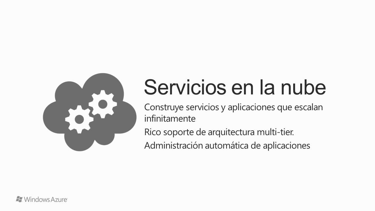 Servicios en la nube Construye servicios y aplicaciones que escalan infinitamente. Rico soporte de arquitectura multi-tier.