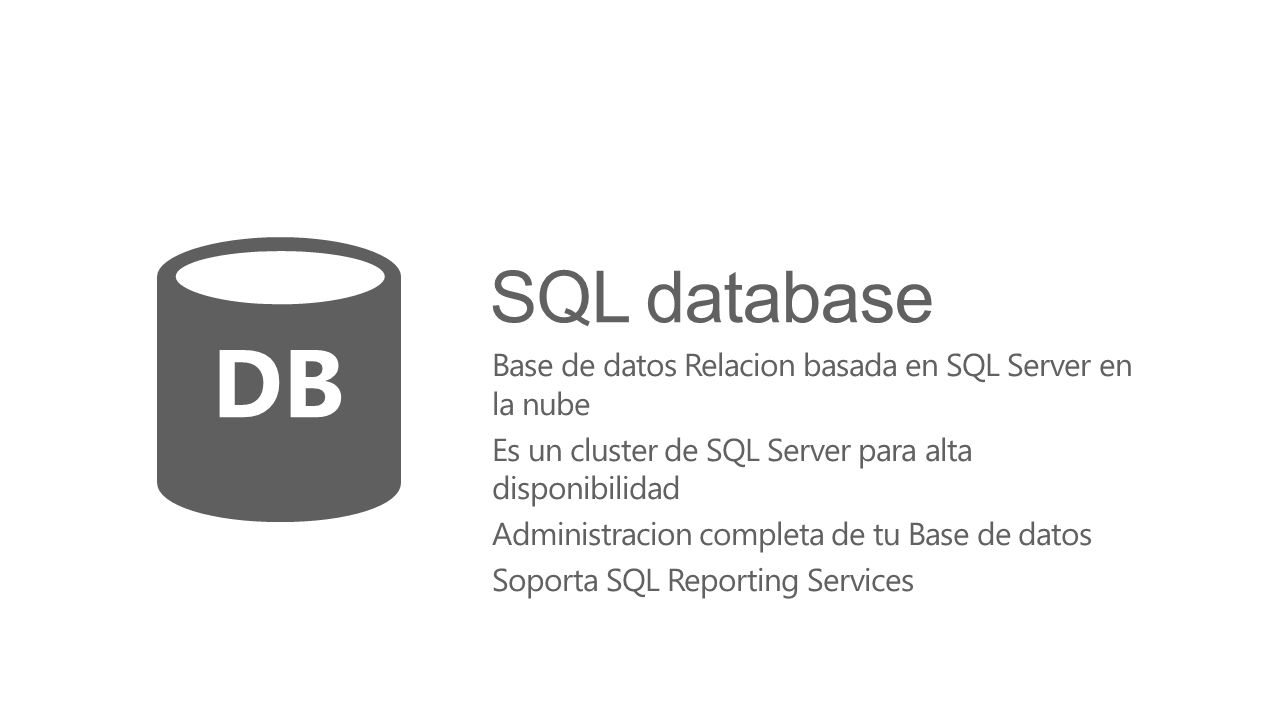 DB SQL database Base de datos Relacion basada en SQL Server en la nube