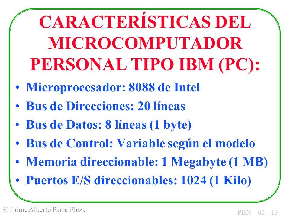CARACTERÍSTICAS DEL MICROCOMPUTADOR PERSONAL TIPO IBM (PC):