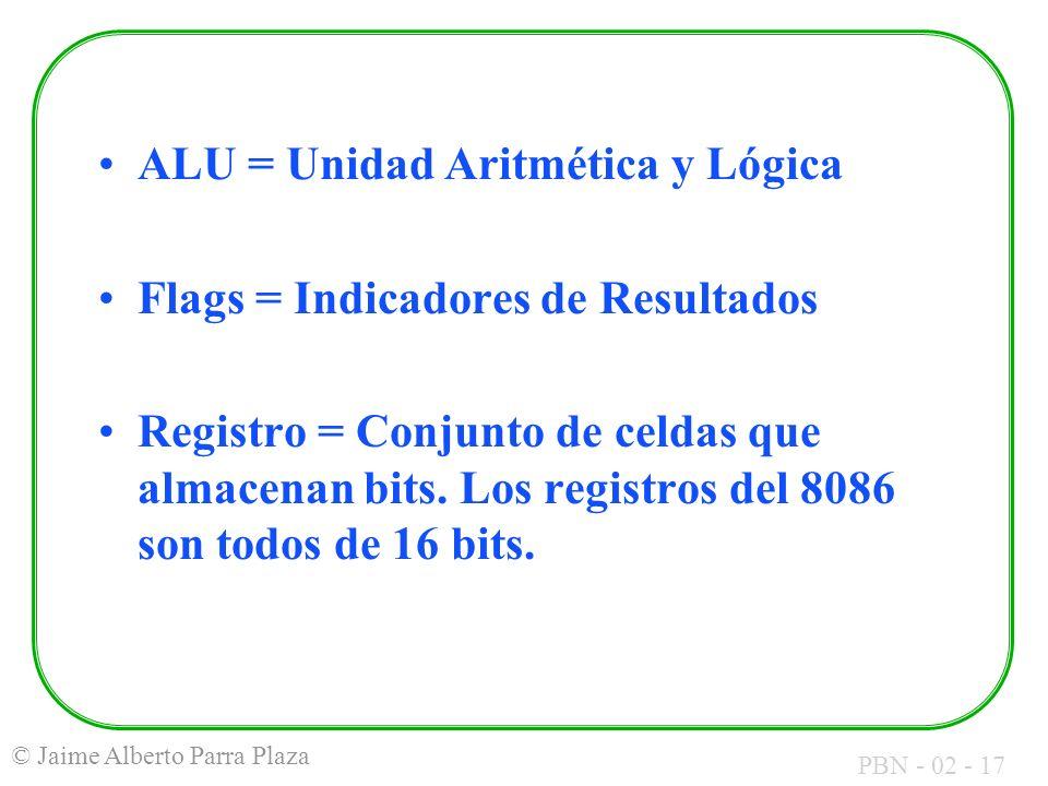 ALU = Unidad Aritmética y Lógica