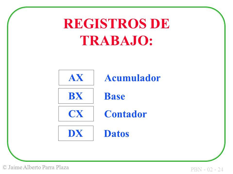 REGISTROS DE TRABAJO: AX Acumulador BX Base CX Contador DX Datos