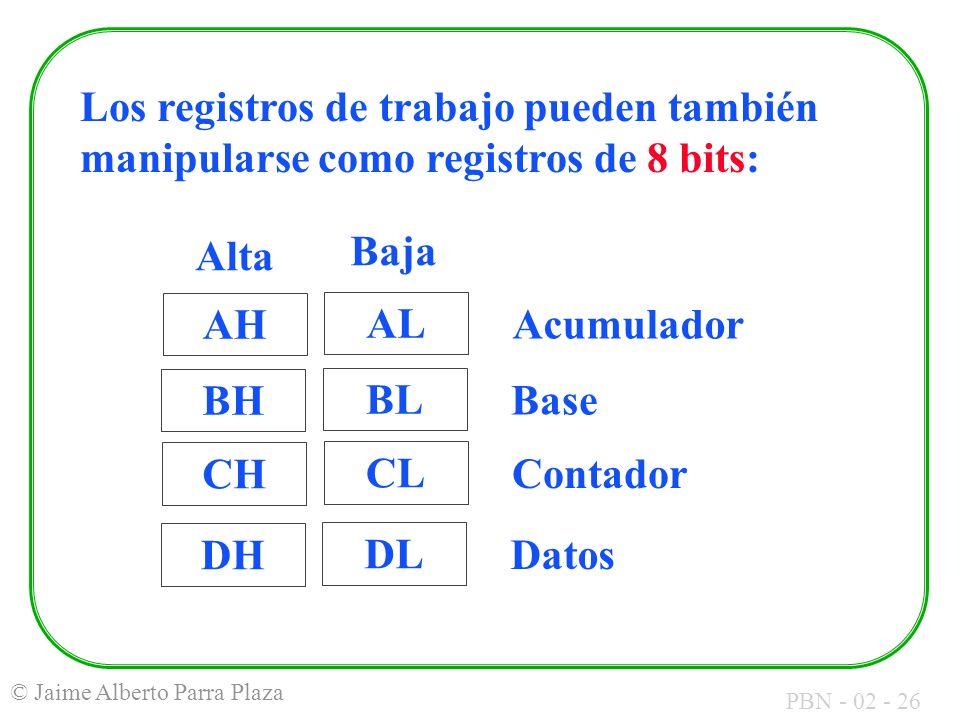 Los registros de trabajo pueden también manipularse como registros de 8 bits: