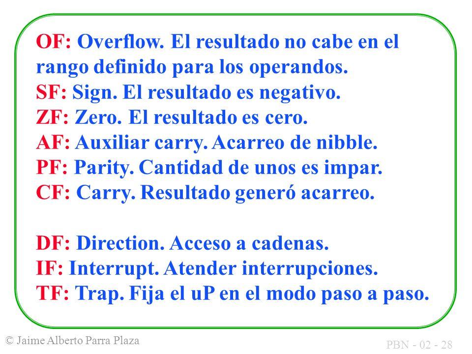 OF: Overflow. El resultado no cabe en el rango definido para los operandos.