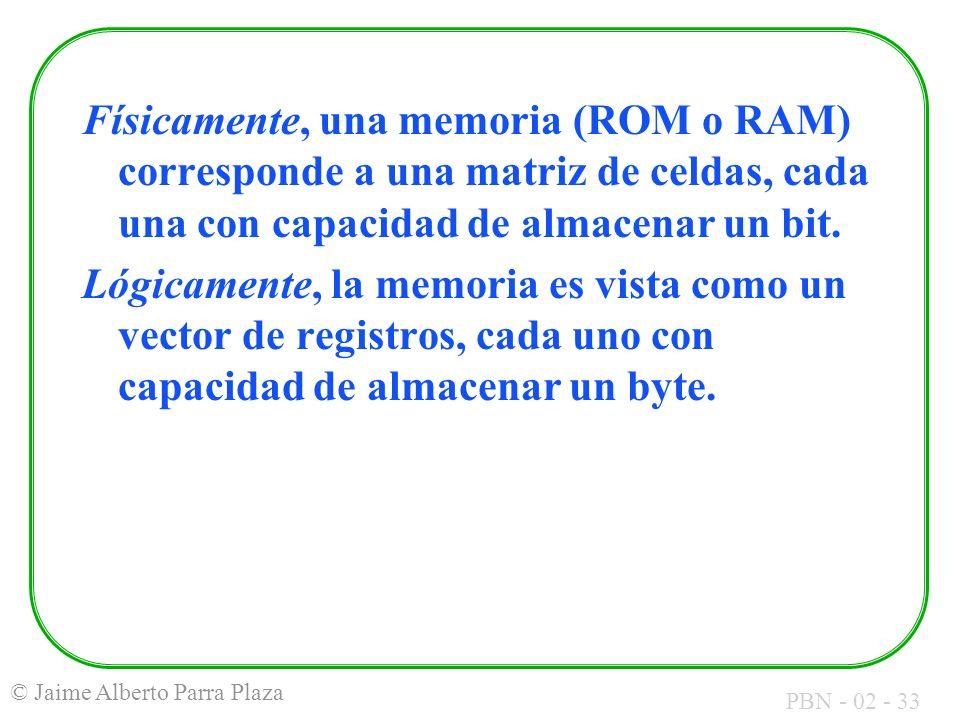 Físicamente, una memoria (ROM o RAM) corresponde a una matriz de celdas, cada una con capacidad de almacenar un bit.