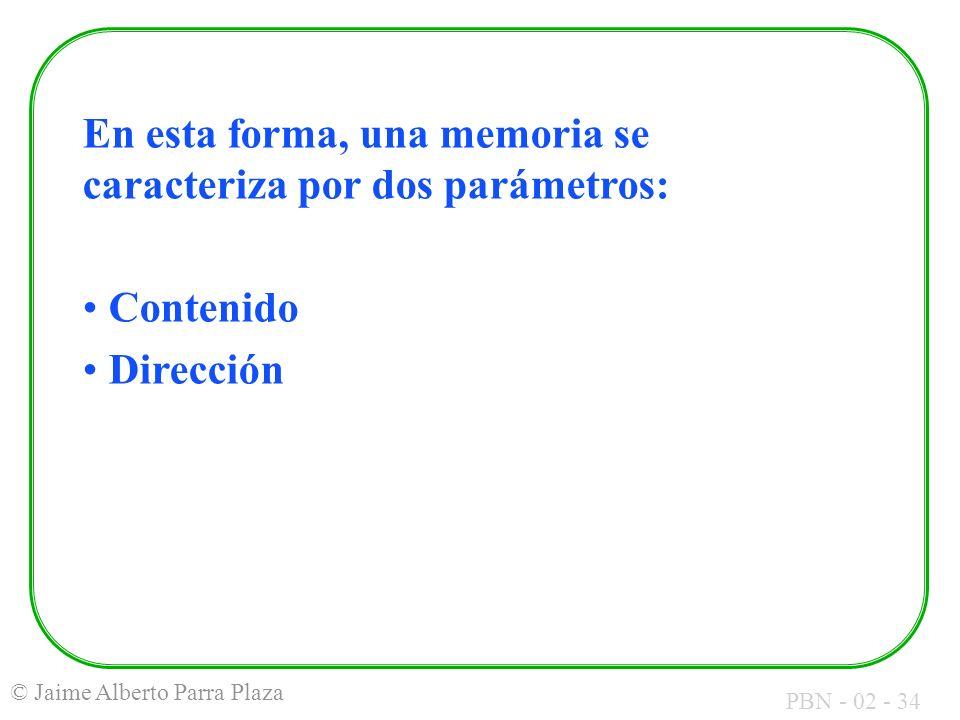 En esta forma, una memoria se caracteriza por dos parámetros: