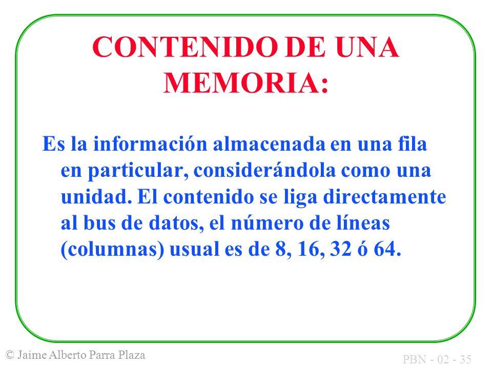 CONTENIDO DE UNA MEMORIA: