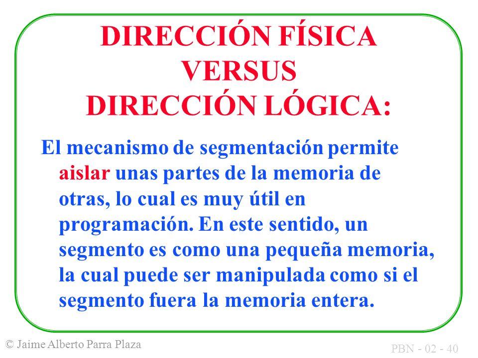 DIRECCIÓN FÍSICA VERSUS DIRECCIÓN LÓGICA: