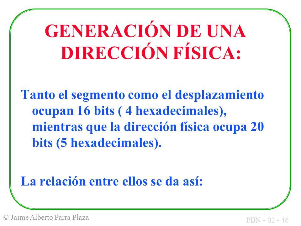 GENERACIÓN DE UNA DIRECCIÓN FÍSICA: