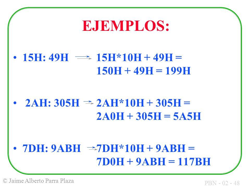 EJEMPLOS: 15H: 49H 15H*10H + 49H = 150H + 49H = 199H
