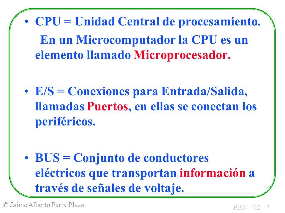 CPU = Unidad Central de procesamiento.