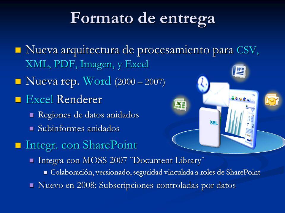 Formato de entrega Nueva arquitectura de procesamiento para CSV, XML, PDF, Imagen, y Excel. Nueva rep. Word (2000 – 2007)
