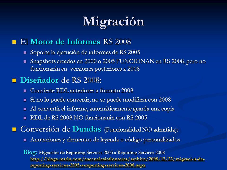 Migración El Motor de Informes RS 2008 Diseñador de RS 2008: