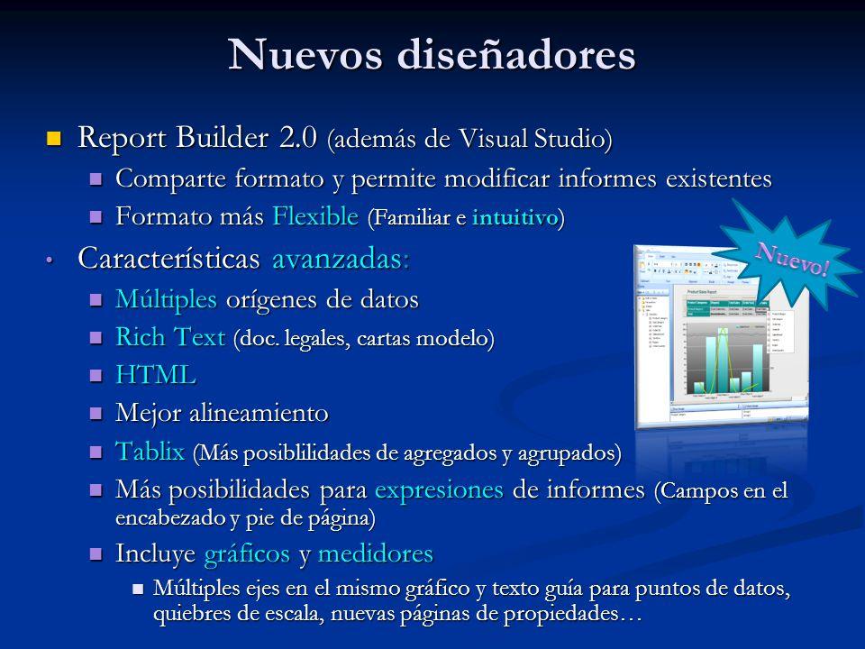 Nuevos diseñadores Report Builder 2.0 (además de Visual Studio)