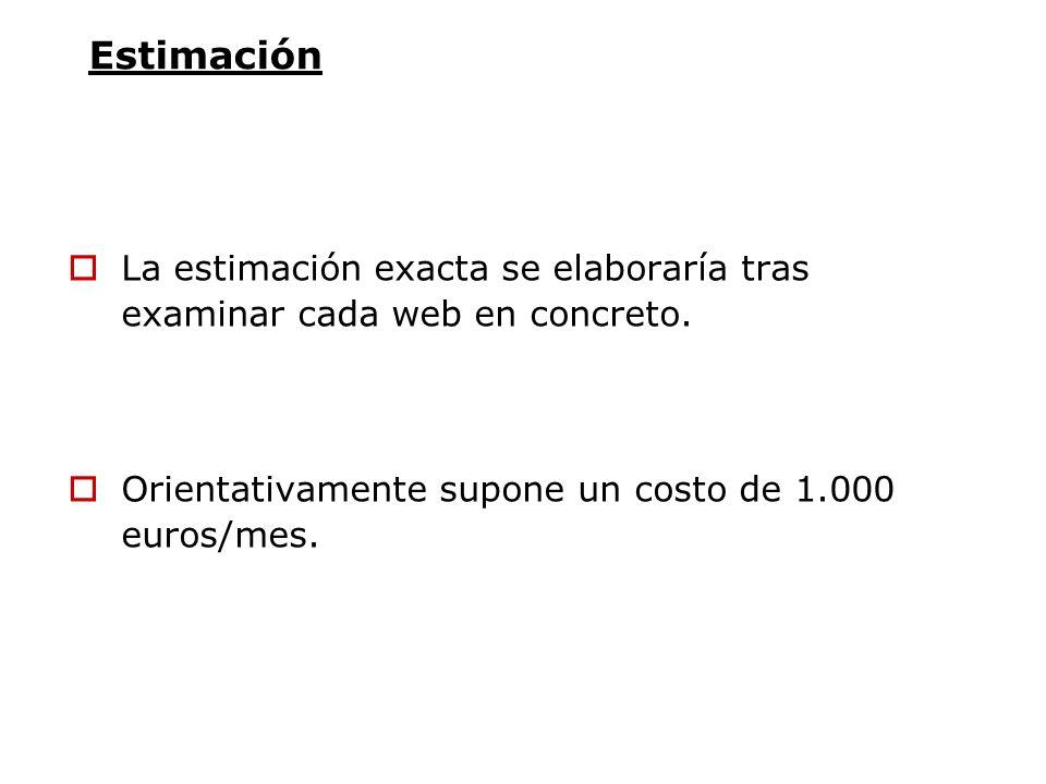 EstimaciónLa estimación exacta se elaboraría tras examinar cada web en concreto.