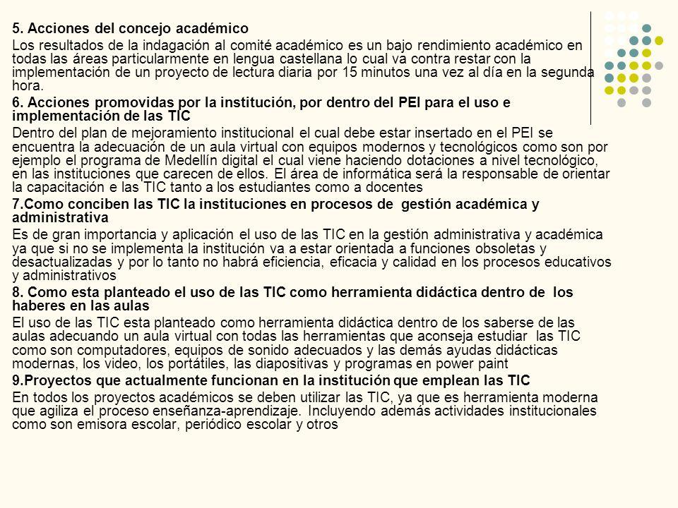 5. Acciones del concejo académico