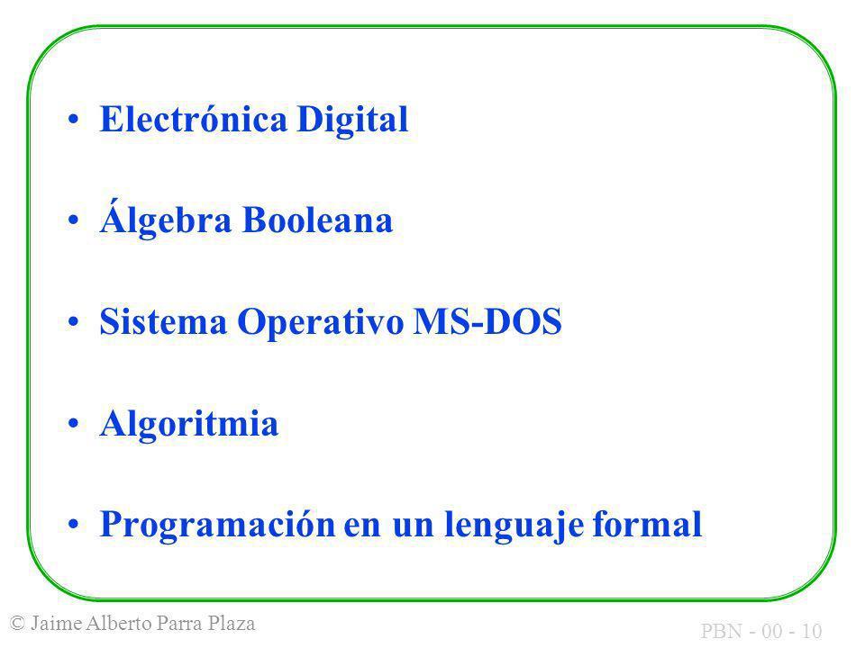 Electrónica Digital Álgebra Booleana. Sistema Operativo MS-DOS.