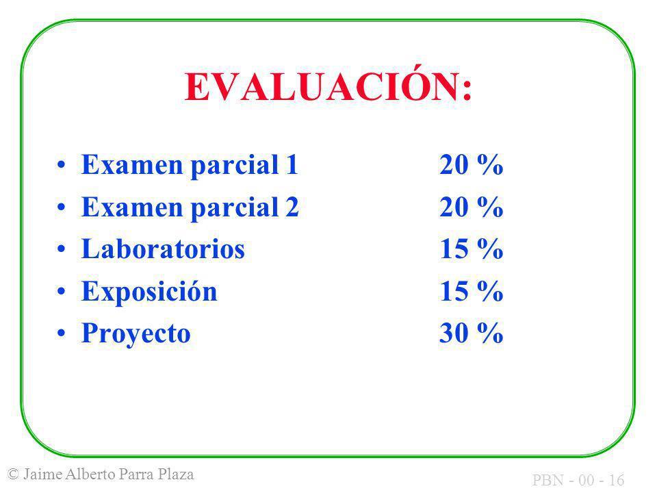 EVALUACIÓN: Examen parcial 1 20 % Examen parcial 2 20 %