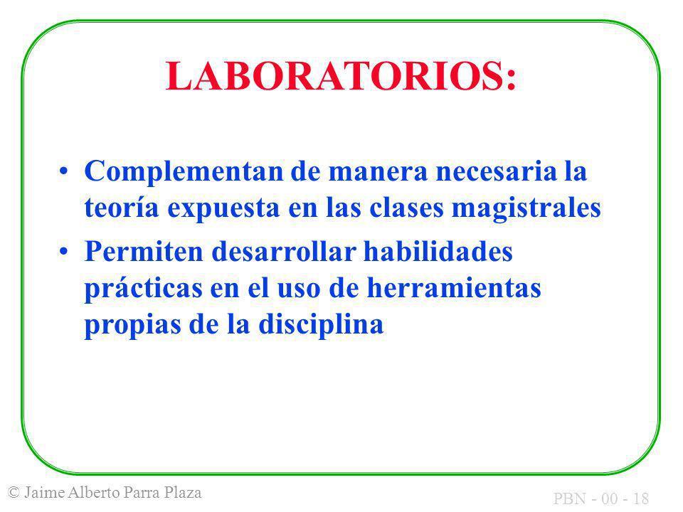 LABORATORIOS: Complementan de manera necesaria la teoría expuesta en las clases magistrales.