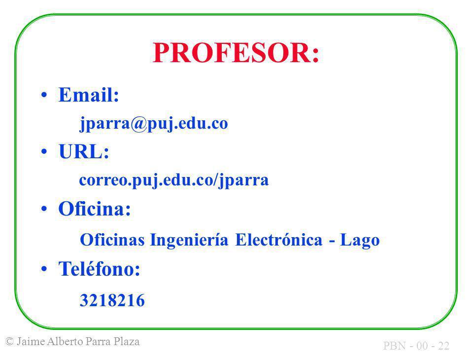 PROFESOR: Email: URL: Oficina: Oficinas Ingeniería Electrónica - Lago