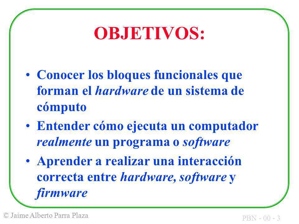 OBJETIVOS: Conocer los bloques funcionales que forman el hardware de un sistema de cómputo.