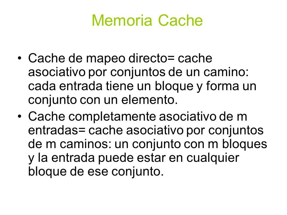 Memoria CacheCache de mapeo directo= cache asociativo por conjuntos de un camino: cada entrada tiene un bloque y forma un conjunto con un elemento.
