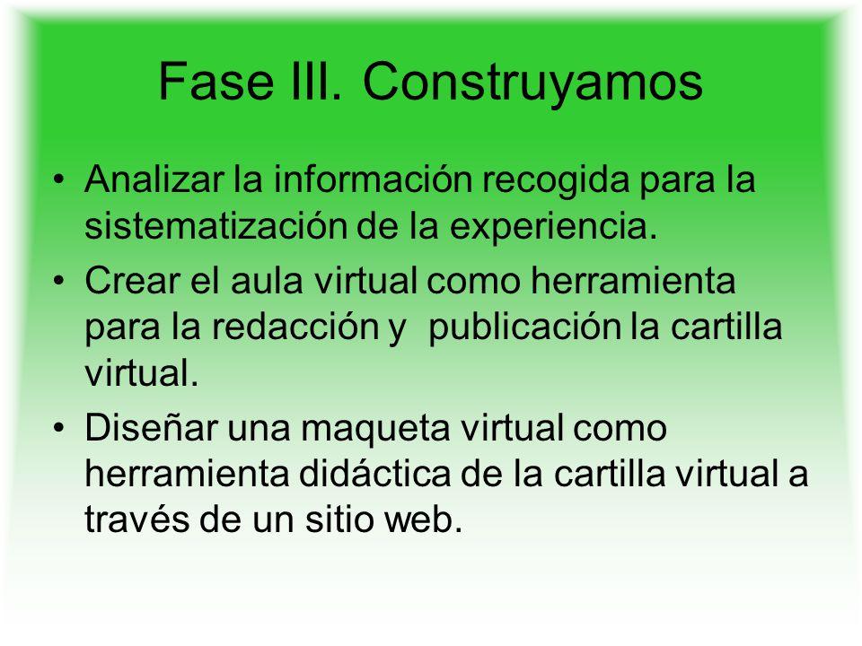 Fase III. Construyamos Analizar la información recogida para la sistematización de la experiencia.