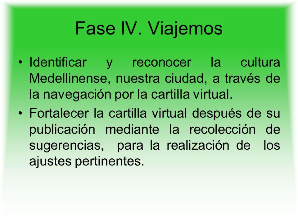 Fase IV. Viajemos Identificar y reconocer la cultura Medellinense, nuestra ciudad, a través de la navegación por la cartilla virtual.